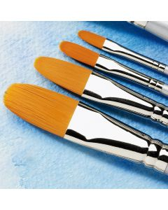 Specialist Crafts Premium Short Handled Synthetic Watercolour Filbert Brushes