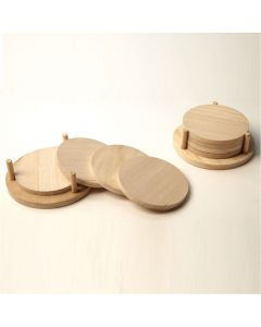 Four Wooden Coasters & Stand. Pack of 4