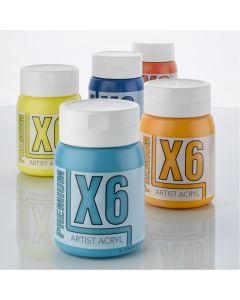 X6 Premium Acryl Acrylic Colours 500ml Bottles