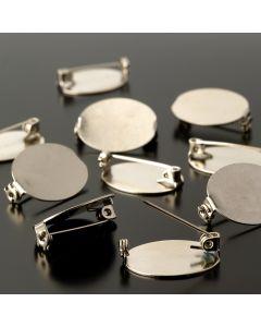 Oval Brooch Blank Pack - Nickel Plated
