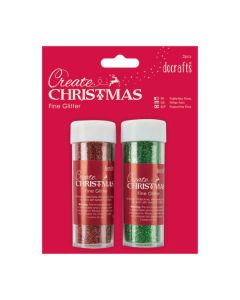 Small Fine Glitter Pots Red & Green. Pack of 2
