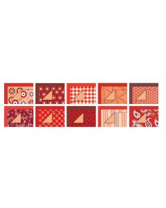 Patterned Card & Paper Blocks. Red. Pack of 30