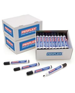 Penflex Whiteboard Markers - Black. Pack of 50
