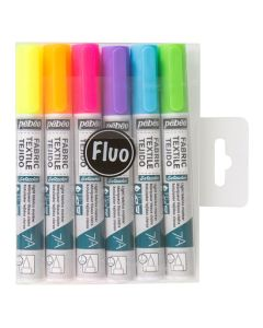Pebeo 7A Fluorescent Fabric Pens. Pack of 6