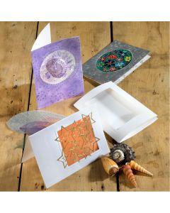 Three Fold Greetings Cards & Envelopes - Circle - White